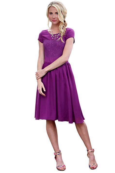 Modest Bridesmaid Dresses in Purple