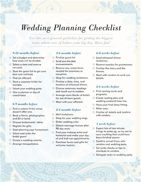 Printable Wedding Checklist Australia | wedding planning checklist free printable checklists to