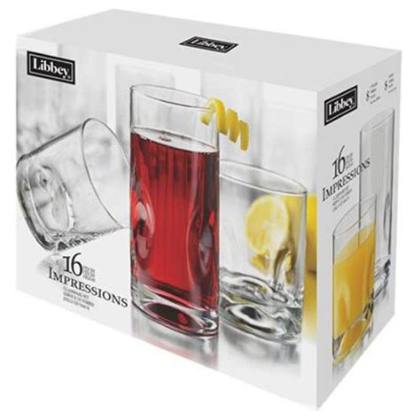 Crisa Beverage Set libbey crisa 1786426 16 impressions clear glasses tumbler beverage set