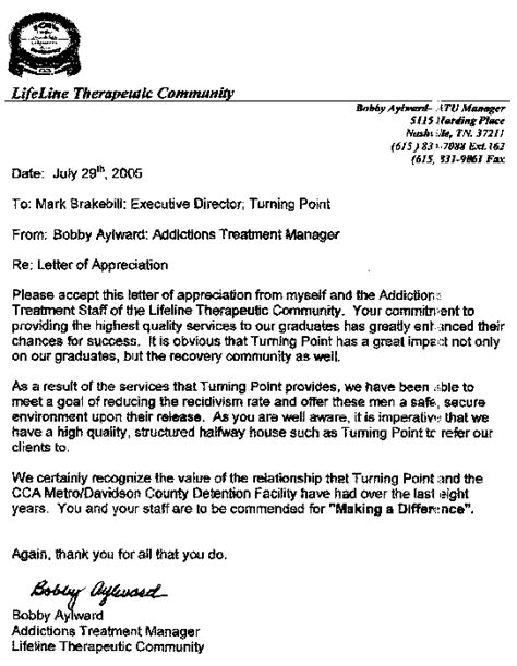 Community Service Letter Of Recommendation Sle Turning Point Recovery Residence Inc References