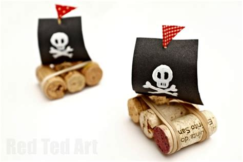 wine cork boat craft easy pirate cork boats red ted art s blog