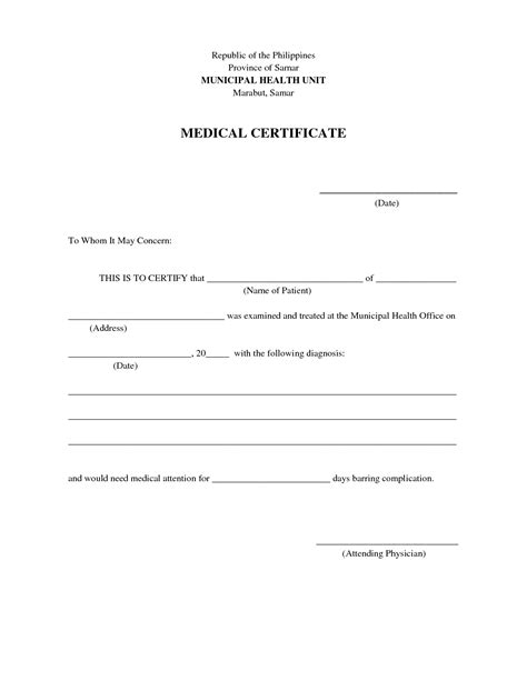 formatted medical certificate template