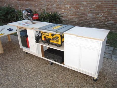 portable miter saw table made from kitchen cabinets woodworking pinterest miter saw