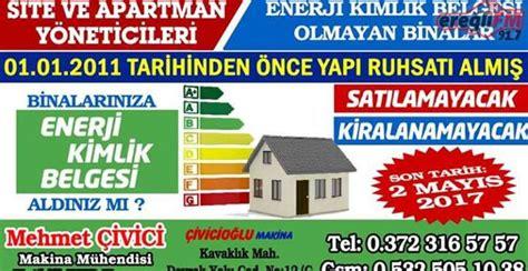 tuem binalara enerji kimlik belgesi zorunlulugu kdz
