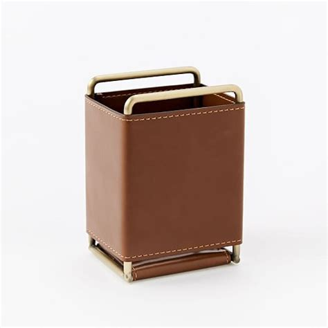 Faux Leather Brass Office Accessories West Elm Faux Leather Desk Accessories