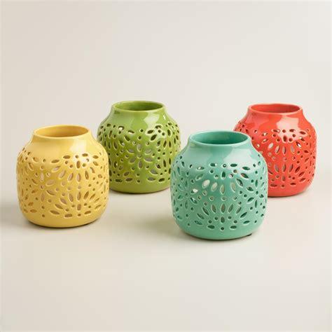 cutout glazed ceramic lantern world market