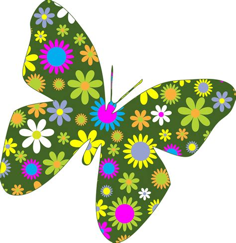 clipart retro floral butterfly