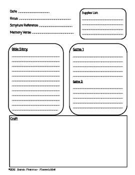 sunday school or bible lesson plan template old