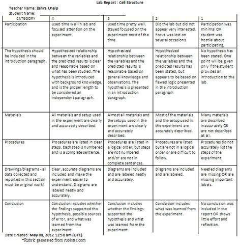 Free Resume Examples by Lab Report Rubric Zehra S Website