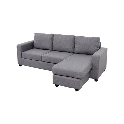 35% OFF   Grey L Shaped Chaise Couch / Sofas