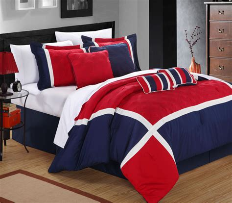 blue and red comforter sets quincy blue red 8 piece comforter set contemporary