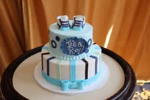 it s a boy blue booties baby shower cake