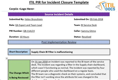 Post Implementation Plan Template by Post Implementation Review Template For Incident Closure