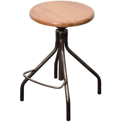 industrial adjustable stool industrial stool with adjustable wooden seat at 1stdibs