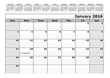 Blank monthly calendar 2016 template template