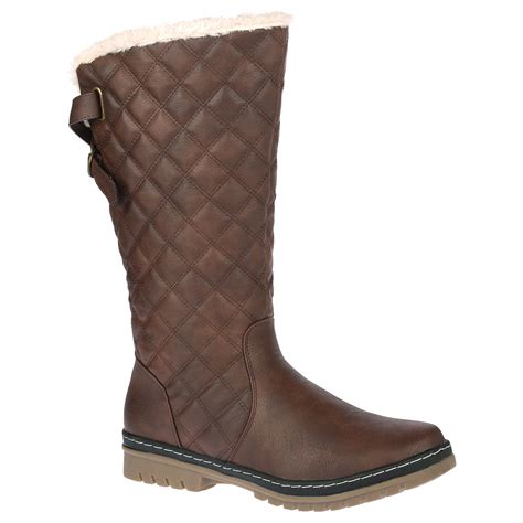 womens fur lined boots d6z womens quilted faux fur lined thick sole mid