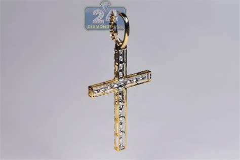 mens cross pendant 14k yellow gold 3 08 ct 2 5 inch