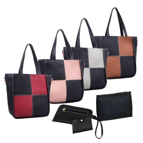 Set 4in1 Flat 170rb 57 new 4in1 setbag stitching bag tote bag beg new b018