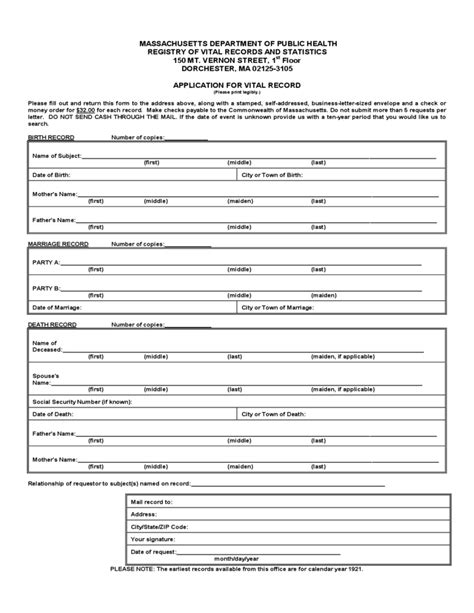 Vital Records Birth Certificate Application Application For Vital Record Massachusetts Free