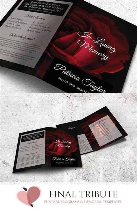 rose themed cards divine love a red rose themed memorial card template