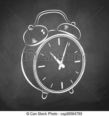 chalkboard drawing alarm clock  vector illustration