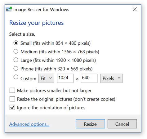 downsize image image resizer for windows lets you resize images by right clicking