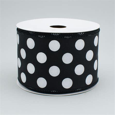 Ribbon Dot Black 2 5 quot big polka dot ribbon black white 10 yards