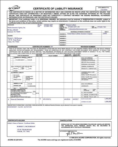 Certificate Certificate Of Liability Insurance Form Certificate Of Liability Insurance Form Template