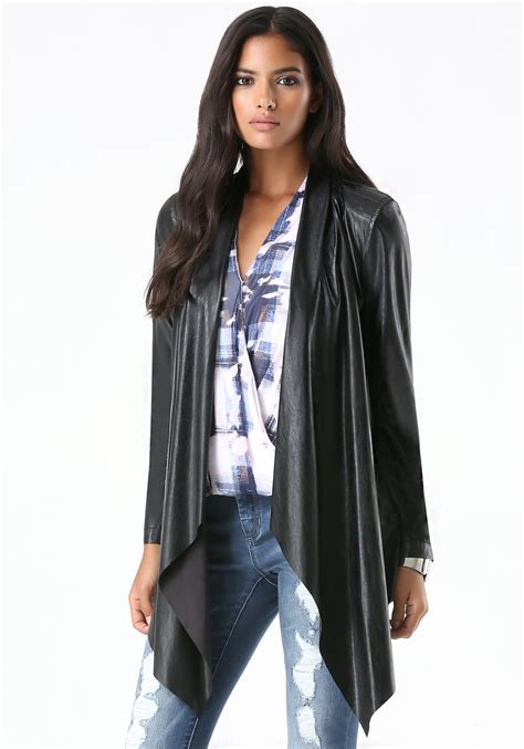 draped faux leather jacket bebe faux leather draped jacket in black lyst