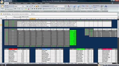 Excel Fantasy Football Draft Tool Youtube Excel Football Template