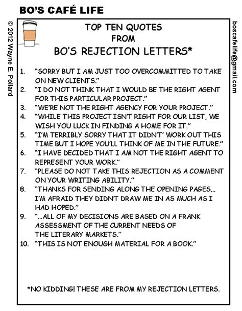 Rejection Letter Quotes weekend edition top ten quotes from bo s rejection
