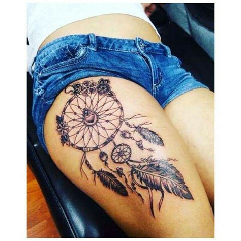 dreamcatcher thigh tattoos beautiful catcher ideas