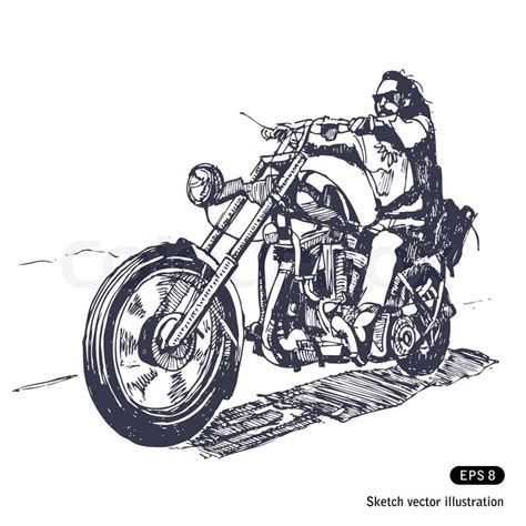 easy tattoo and chopper rider on a chopper stock vector colourbox