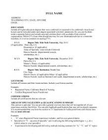 Curriculum Vitae For Nurses by Curriculum Vitae Curriculum Vitae Template For Nurses