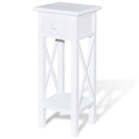 white telephone side table with drawer vidaxl