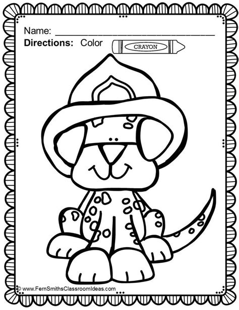 free fire station dog coloring printable in the preview