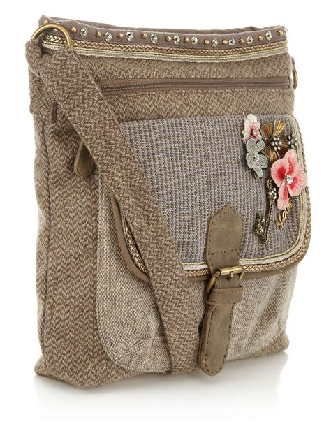 Tweed Crossbody Bag tweed charm crossbody bag taupe accessorize bags