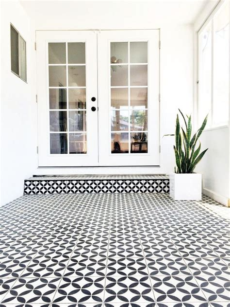 Tiled Sunroom black white cement tile in sunroom brittanymakes home cement and sunroom