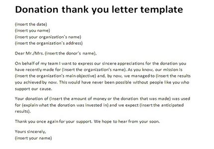 Thank You Letter Money thank you letter for money donation letters font