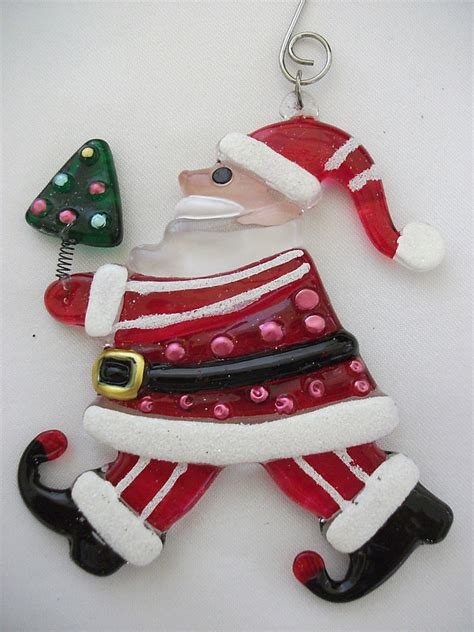 santa christmas tree thick fused glass holiday ornament