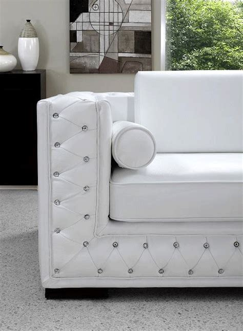 white sofa sets white leather sofa set with crystals he 708 leather sofas
