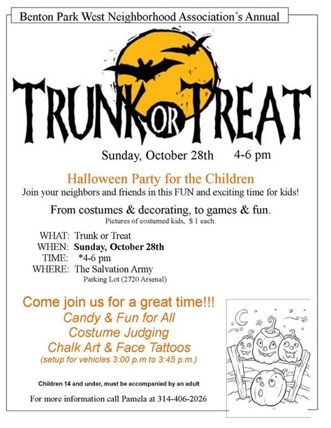 trunk or treat flyer layout idea halloween pinterest