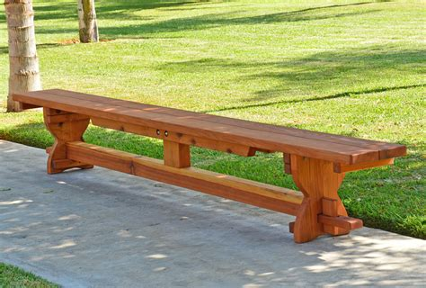 redwood bench redwood trestle bench custom outdoor wooden bench