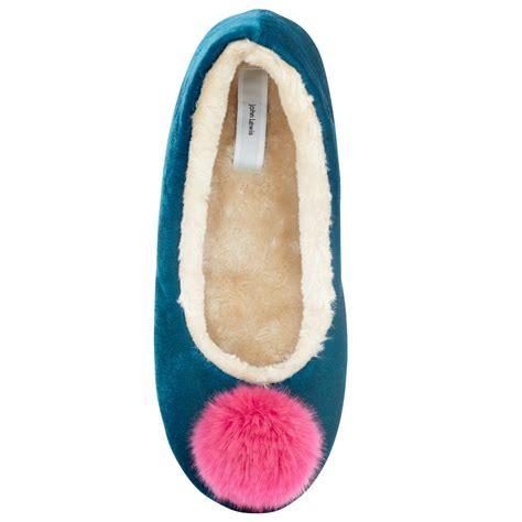 pom pom slippers lewis velvet pom pom ballerina slippers in blue lyst