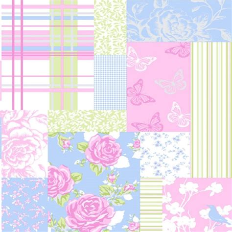 Pollyanna Patchwork - coloroll pollyanna patchwork flowers butterflies wallpaper