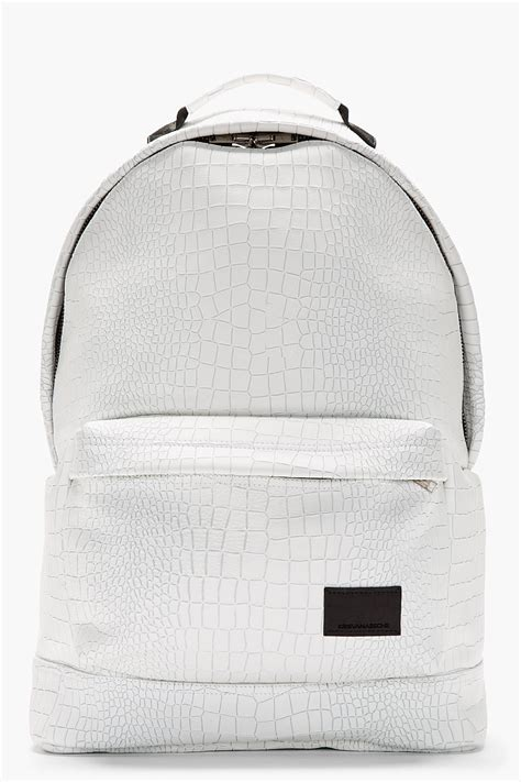 patterned vans bags kris van assche white etched croc pattern backpack in