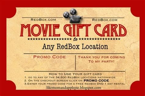 printable movie gift cards redbox gift certificate tryprodermagenix org