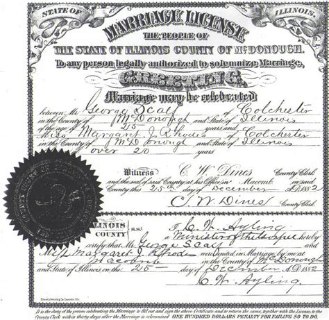 Marriage License Records Illinois Benjamin Scalf