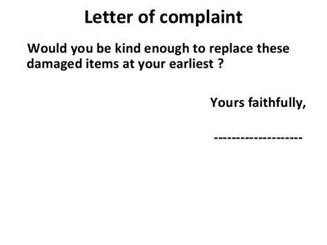 Complaint Letter Yours Sincerely 4 letter of complaint