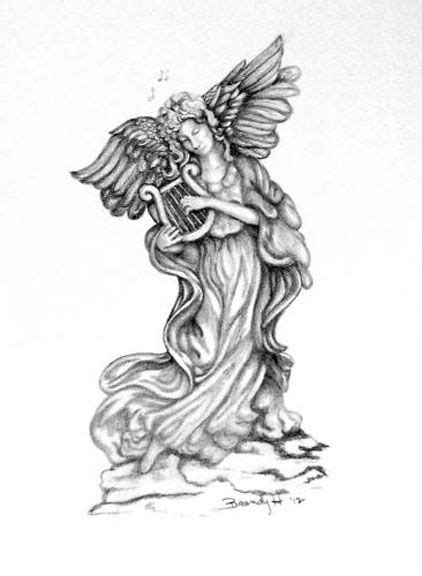 A pencil drawing of a statue angel. The original is 8 x 10